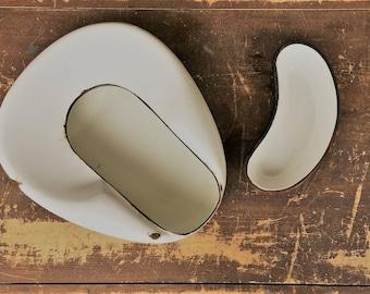 Vintage White Enamel 2 Piece Bed Pan - Jones Relax - Outdoor Planter or Decor Piece - Enamelware