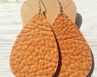Burnt Orange/Caramel Leather Teardrop Earrings, Leather Earrings, Statement Earrings