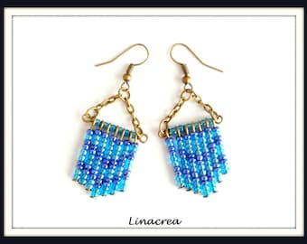 Seed beads earrings blue and Turquoise