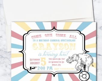 Circus Carnival Theme Birthday Invitation, Gender Neutral, Multi Colored, 5x7, Digital Download
