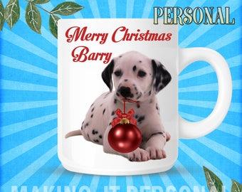 Dalmatian Dog Merry Christmas YOUR NAME Christmas Personalised Mug Sercret Santa Gift Idea