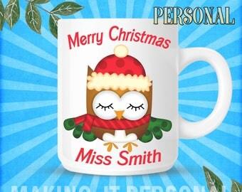 Merry Christmas YOUR TEACHERS NAME Christmas Personalised Mug Sercret Santa Gift Idea