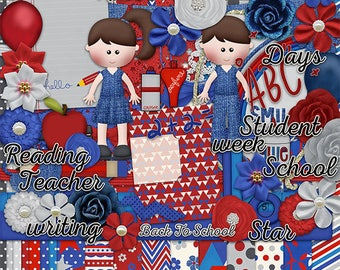 30%Off Back To School Digital Scrapbooking Kit,Boy in Blus jeans ,Girls in Jeans , School boy and girl Cliparts