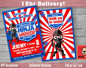 American Ninja Warrior Invitation with FREE Thank you Card! ANW Birthday Australian Ninja Warrior Parkour Obstacle Course Party Invite
