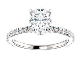Forever One Moissanite Engagement Ring- Anna may | oval | scarf moissanite solitaire engagement ring