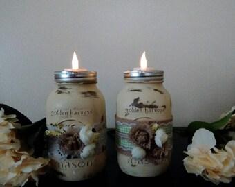 Painted Mason Jar Candle Holders