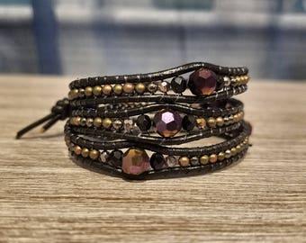 metal and purple gasolinespill beaded bracelet, leather wrap bracelet, boho
