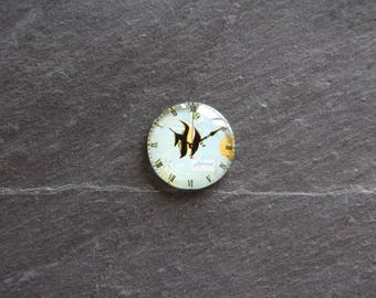 Cabochon 25 mm sea glass fish clock