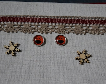 Studs, smiley face, emoticon, red glass