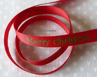 """Ribbon grosgrain red """"Merry Christmas"""" Christmas 10mm by the yard."""