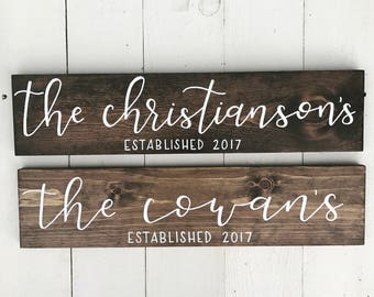 Last Name Wood Sign | Hand Lettered Sign | Home Decor | Custom Sign