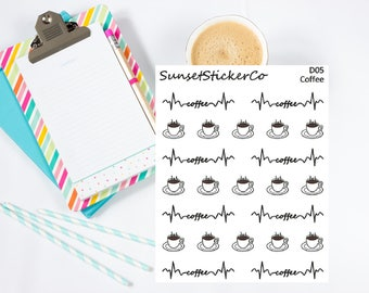 Coffee Icons & Font Stickers (D05)