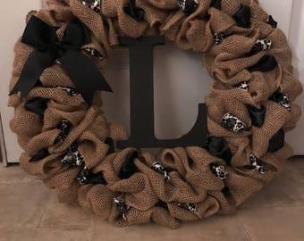 Custom Made Burlap Door Wreath