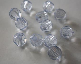 12 transparent plastic 10 mm beads