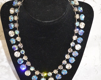 Blue and Crystal 10 and 8mm Swarovski Crystal double Necklace.