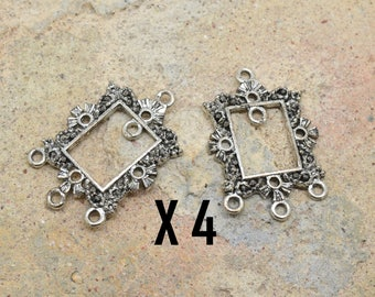4 x connector setting chandelier lace rectangle silver metal rectangular earrings