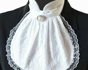 White Lace Jabot Cravat Collar Steampunk Victorian Fancy Dress Theatre Regency Burlesque