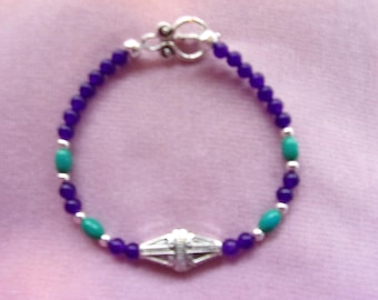 Purple and green stone and silver bracelet