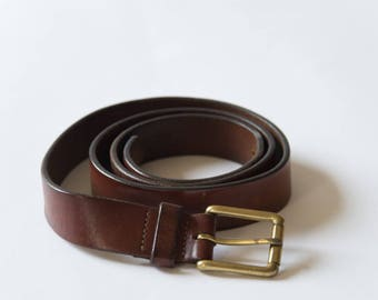Brown Leather Belt with Brass Buckle