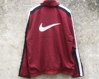 NIKE vintage 90s Nike embroidery big logo swoosh red and white colour simple design size L