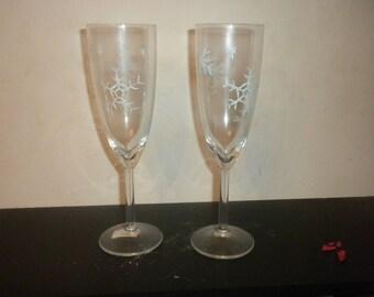 Snowflake Champagne Flutes W14