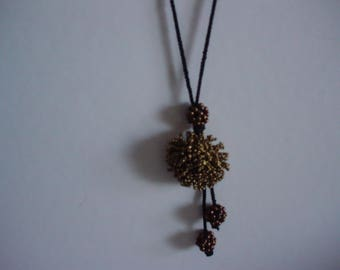 black and bronze long necklace