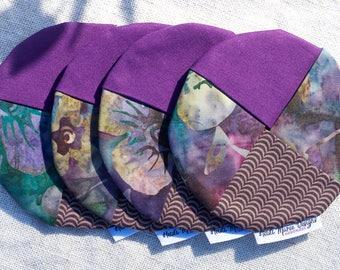 Purple batik fabric wine coasters set of four