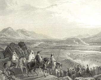 Plain of the Jordan, Looking Towards The Dead Sea, Jordan 1841 - Old Antique Vintage Engraving Art Print - Horses, Mountain, River, Weapons,