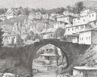 Turkey 1889, Bridge on the Bitlis, Suburb of Zeden, Old Antique Vintage Engraving Art Print, Bridge, Stream, Tree, House, Stepped, Arch