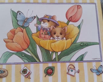 Vintage Greeting Card - Current Blank Card  - Amy Flynn - Sitterscampers - Mice in Tulip