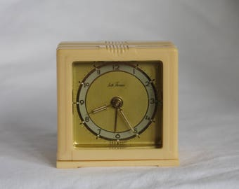 Vintage Working Made in Germany for Seth Thomas Wind Up Travel Alarm Clock, Model E903, 4 Jewels, Art Deco Case