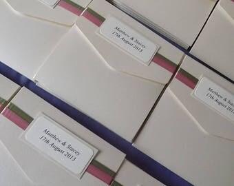 1 x Pocketfold sample Wedding Invitations Ribbon design