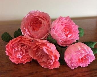 Crepe paper peonies mix pinks Wedding flowers pink peony bunch