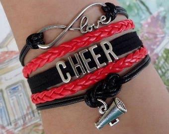 Cheer bracelet, Cheerleader gift, Cheer Mom jewelry, Cheer Coach gift, Megaphone charm, Cheer Team, Infinity cheer bracelet, Black/Red