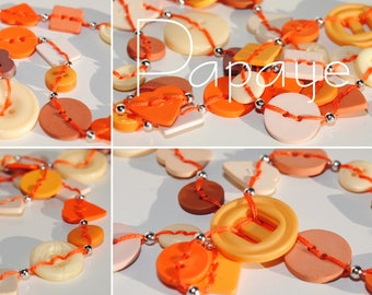 Papaya - Long necklace made of buttons