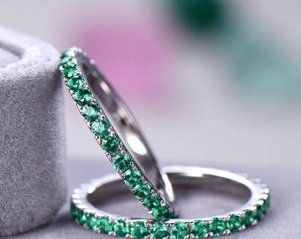 Green CZ Cubic Zirconia Wedding Band Set 925 Sterling Silver White Gold Full Eternity Stacking Engagement Ring 2pcs Bridal Anniversary Women