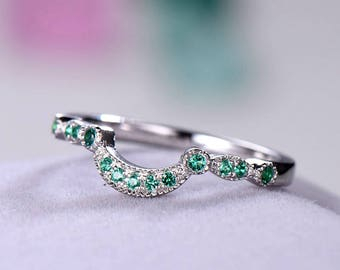 Green CZ Cubic Zirconia Diamond Wedding Band 925 Sterling Silver White Gold Plated Curved Engagement Ring U Shape Stacking Anniversary Gift