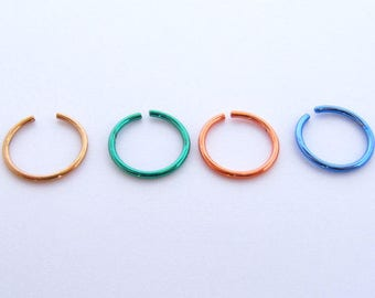 316L Surgical Steel Nose Ring - inner diameter 8mm - Slim Nose Hoop - Thin Nose Ring - Nose Piercing , Tragus ,Cartilage ear