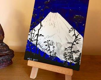 Mount Fuji painting, Japanese art, Acrylic painting, Painting on canvas, 25.4cm x 20.3cm painting,  home decor, perfect gift, volcano art