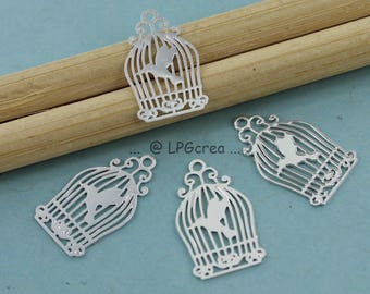 "4 prints ""Birdcage"" - silver - filigree Sun 10x16mm # 25"