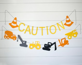 Construction Truck Banner Set of Two-Construction Truck Birthday Party-Construction Truck Baby Shower Banner-Construction Truck  Decoration