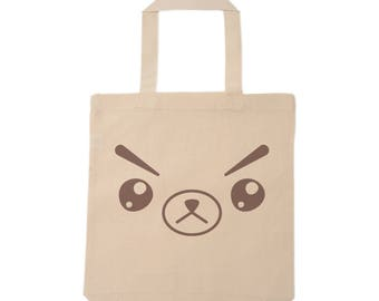 Angry bear face tote bag
