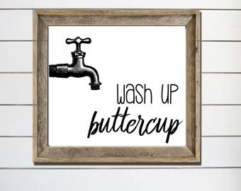 Wash Up Buttercup Digital Download Vintage Spigot Bathroom Decor