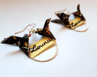 Personalized earrings name and origami doves