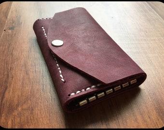 Leather key bag Purple/violet