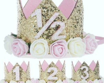 Birthday Crown, first birthday, second birthday, third birthday, glitter crown, cakesmash prop, birthday hat, girls birthday, 6 month crown