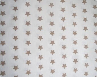 Fabric beige stars, 140cm wide