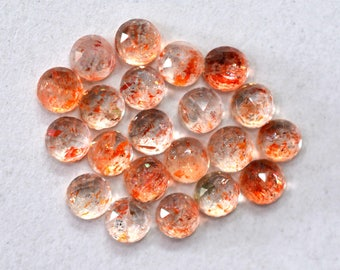 Sunstone Natural Sunstone Round Faceted Cut Stone Loose Gemstone 2.50 cts. 21 Pieces 3x3 mm For Designer Jewelry - 4004