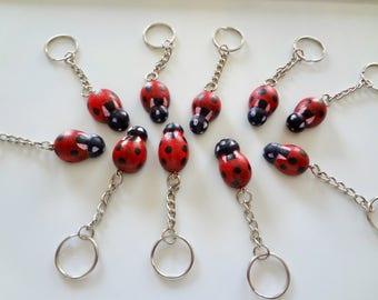 Happiness - shot handcrafted Ladybug Keychain Keyring