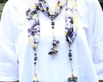 Tradional Handmade Turkish Scarf Necklace , Fashion Bohemian Boho Scarf, Authentic Necklace with stone, Wrap Scarf, Ethnic Jewelry scarf